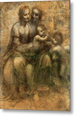 The Virgin And Child With Saint Anne And Saint John The Baptist Metal Print by Leonardo da Vinci