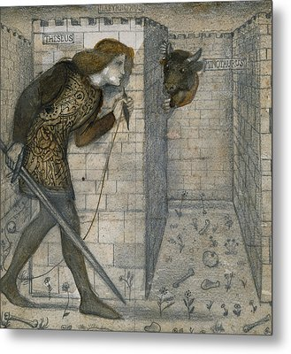 Theseus And The Minotaur In The Labyrinth Metal Print by Edward Burne-Jones