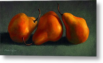 Three Golden Pears Metal Print by Frank Wilson