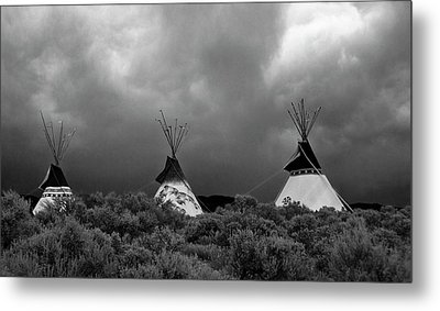 Three Teepee's Metal Print by Carolyn Dalessandro