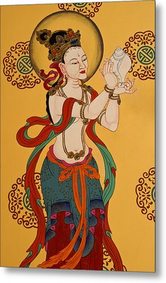 Tibetan Buddhist Mural Metal Print by Michele Burgess