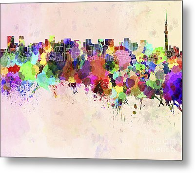 Tokyo Skyline In Watercolor Background Metal Print by Pablo Romero