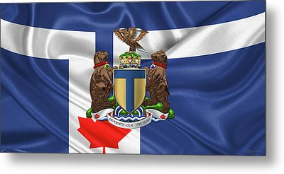 Toronto - Coat Of Arms Over City Of Toronto Flag  Metal Print by Serge Averbukh