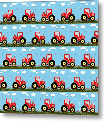 Toy Tractor Pattern Metal Print by Gaspar Avila