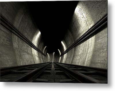 Train Tracks And Tunnel Metal Print