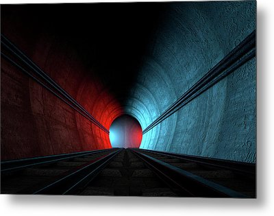 Train Tracks And Tunnel Split Choices Metal Print by Allan Swart