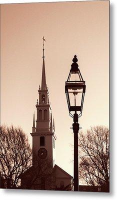 Trinity Church Newport With Lamp Metal Print by Nancy De Flon