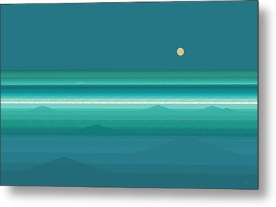Metal Print featuring the digital art Tropical Sea Moonrise by Val Arie