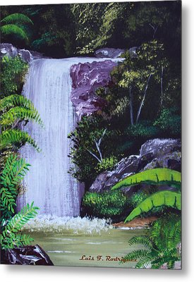 Tropical Waterfall Metal Print by Luis F Rodriguez