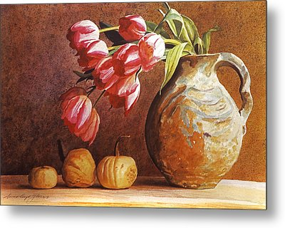 Tulips And Squash Metal Print by David Lloyd Glover