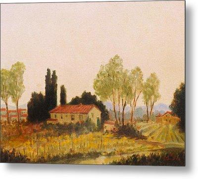 Tuscan Farmland Metal Print by David Olander