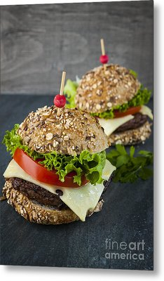 Two Gourmet Hamburgers Metal Print by Elena Elisseeva