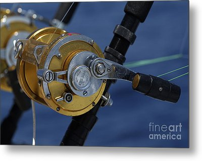 Two Rod And Reels On Board A Game Fishing Boat In The Mediterranean Sea Metal Print by Sami Sarkis