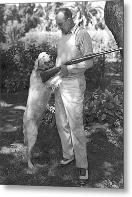 Ty Cobb With His Dog Metal Print by Underwood Archives