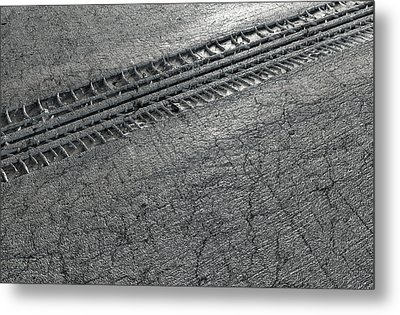 Tyre Track In The Ground Metal Print by Allan Swart