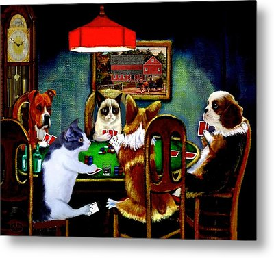 Under The Table Metal Print