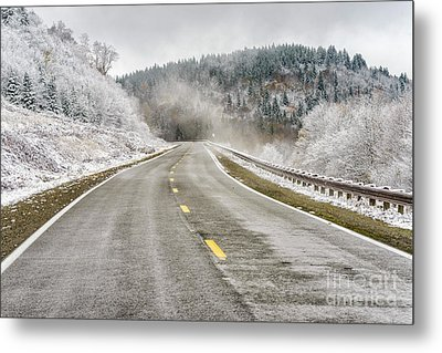 Metal Print featuring the photograph Unexpected Autumn Snow Highland Scenic Highway by Thomas R Fletcher