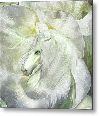 Metal Print featuring the mixed media Unicorn Rose by Carol Cavalaris