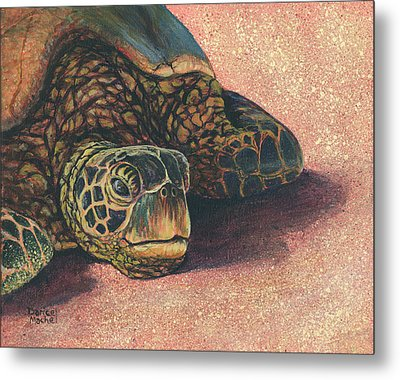 Metal Print featuring the painting Honu At Rest by Darice Machel McGuire