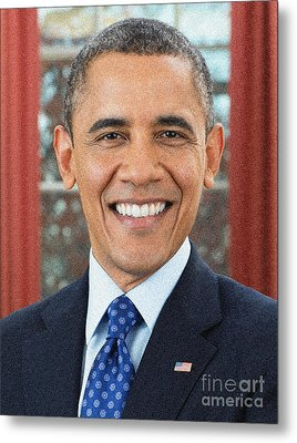 U.s. President Barack Obama Metal Print