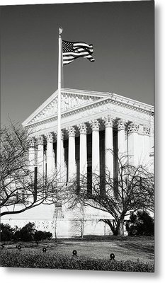 Us Supreme Court Building With United States Flag Metal Print by Brandon Bourdages