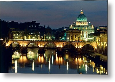 Vatican Skyline  View Of St Peters Basilica In The Evening Metal Print by Italian School