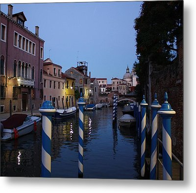 Venice At Night Metal Print by Pat Purdy