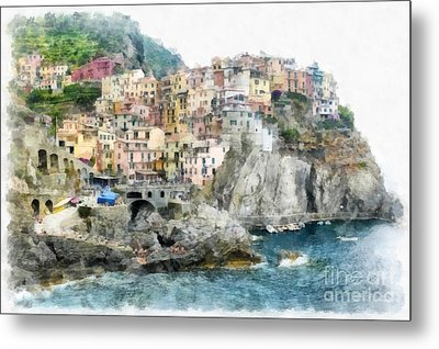 Manarola Italy In The Cinque Terra Metal Print by Edward Fielding