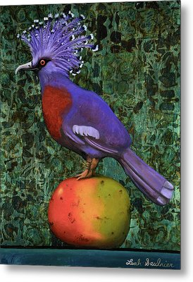 Victoria Crowned Pigeon On A Mango Metal Print by Leah Saulnier The Painting Maniac