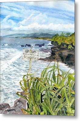 Metal Print featuring the painting View From Tanah Lot Bali Indonesia by Melly Terpening