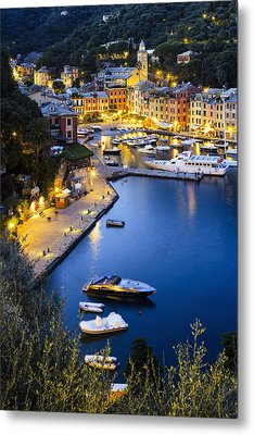 View Of The Harbour At Dusk  Portofino Metal Print by Yves Marcoux