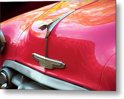 Metal Print featuring the photograph Vintage Chevy Hood Ornament Havana Cuba by Charles Harden