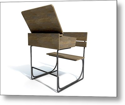 Vintage School Desk Open Empty Metal Print by Allan Swart