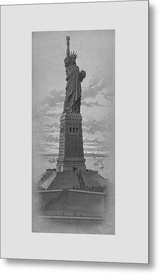 Vintage Statue Of Liberty Metal Print by War Is Hell Store