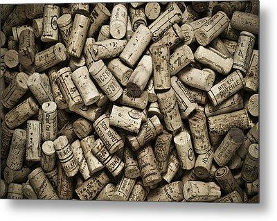 Vintage Wine Corks Metal Print