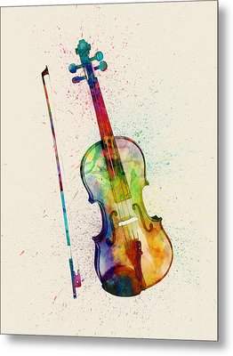 Violin Abstract Watercolor Metal Print