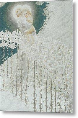 Virgin Of The Lilies Metal Print by Carlos Schwabe