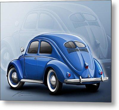 Volkswagen Beetle Vw 1948 Blue Metal Print