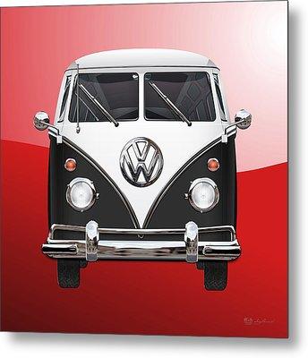Volkswagen Type 2 - Black And White Volkswagen T 1 Samba Bus On Red  Metal Print by Serge Averbukh