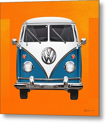 Volkswagen Type 2 - Blue And White Volkswagen T 1 Samba Bus Over Orange Canvas  Metal Print by Serge Averbukh