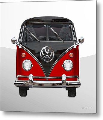 Volkswagen Type 2 - Red And Black Volkswagen T 1 Samba Bus On White  Metal Print by Serge Averbukh