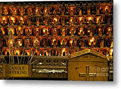 Votive Candles Metal Print by John Greim