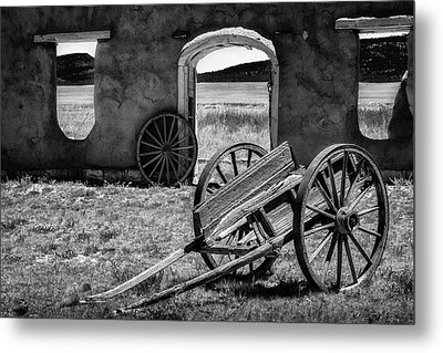 Wagon Wheels In Bw Metal Print by James Barber