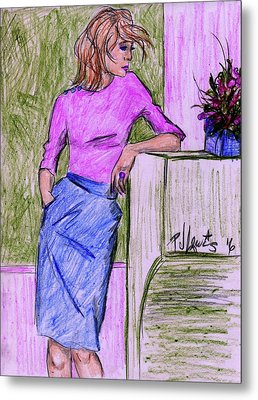 Metal Print featuring the drawing Waiting by P J Lewis
