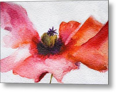 Watercolor Poppy Flower Metal Print