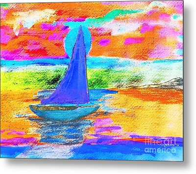 Watercolor Sailing Metal Print