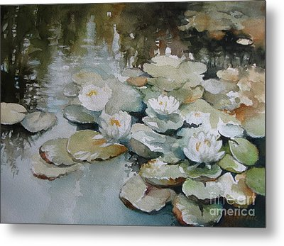 Metal Print featuring the painting Waterlilies by Elena Oleniuc