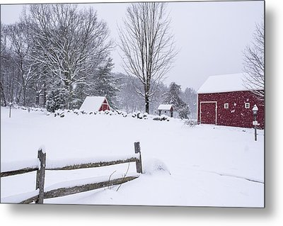 Wayside Inn Grist Mill Covered In Snow Storm Metal Print by Toby McGuire