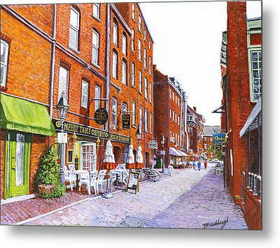 Wharf Street Portland Maine Metal Print by Thomas Michael Meddaugh