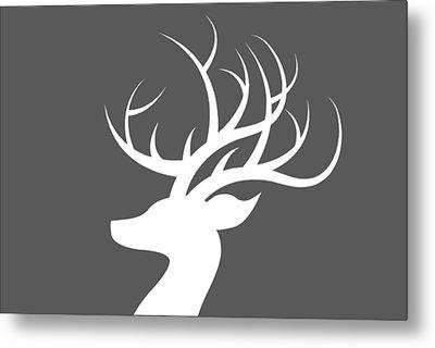 White Deer Silhouette Metal Print